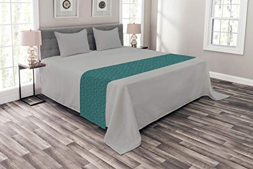 Ambesonne Teal Bed Runner, Abstract Line Art Modern Expressionist Design Water Drop Pattern in Various Sizes, Decorative Accent Bedding Scarf for Hotels Homes and Guestrooms, King, Turquoise Teal