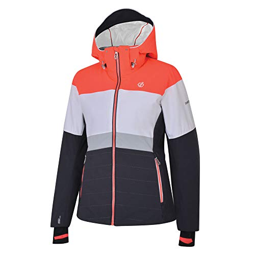 Dare 2b Damen Avowal Waterproof & Breathable High Loft Insulated Technical Ski & Snowboard Jacket with Detachable Snowskirt and Wire Peaked Hood wasserdichte, isolierte Jacken, Ebenholz/Weiß, 16