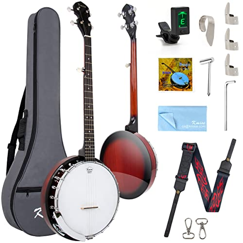Kmise 5-String Banjo,Resonator Instruments with 24 Brackets for Professional Adults...