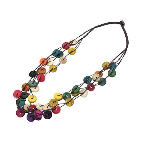 ABOOFAN Collar de estilo bohemio, colgante de tejido artesanal, vintage, multicapa, collar redondo de concha de coco, regalo de vestir, adornos para mujer, niña, fiesta de Hawai
