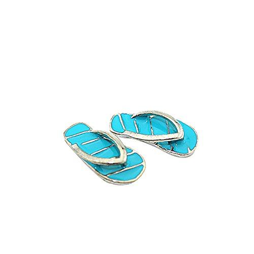 qingsb 1 Paar Mini Cute Stripe Flip Flops DIY Miniatur Spielzeug für Puppenhaus-Zubehör Blue + Silver
