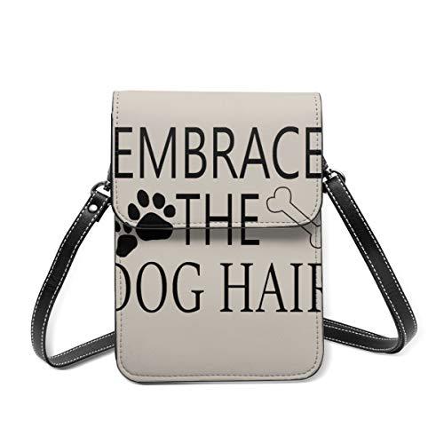 Petit sac à bandoulière, doux et drôles humoristiques Embrace le chien en poils de patte d'os sac à bandoulière pour téléphone portable portefeuille sac à main léger sac à main pour femme fille
