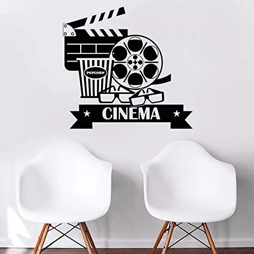 WERWN Calcomanía de Pared de película, calcomanía de Vinilo para Cine, cámara, película, decoración de Pared, Pegatina de fotografía, decoración de Sala de proyección, Gafas de Palomitas de maíz