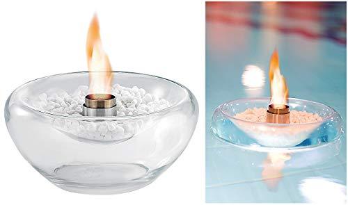 Carlo Milano Feuerglassteine: Schwimmendes Glas-Dekofeuer für Bio-Ethanol (Teich Schwimmkugel)