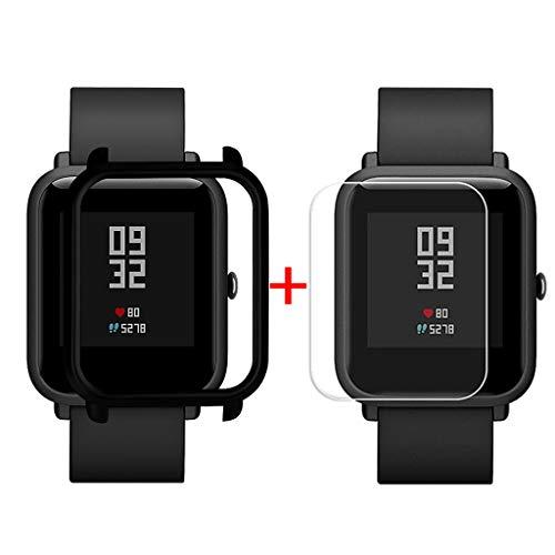 Sannysis Displayschutz Ultradünne PC Hülle Panzerglas Schutzfolie Set Kompatibel für Xiaomi Huami Amazfit Bip Youth Watch Displayschutzfolien, Schutzhülle + Panzerglas (Schwarz)
