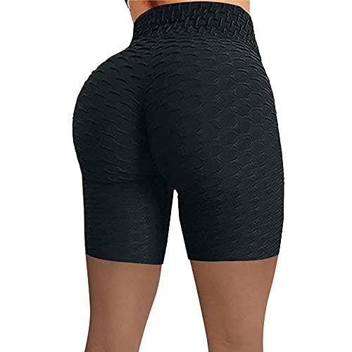 BUXIANGGAN Shorts Pantalones Cortos Mujer Pantalones Cortos Deportivos De Cintura Alta Sin Costuras De Estilo Nuevo para Mujer para Entrenamiento De Gimnasia-Black_XXL