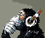 JHGJHK Pintura al óleo Animal del Arte de la Acuarela Pintura al óleo del Mono Animal, Pintura de la decoración del hogar (Imagen 3)