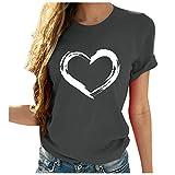 YANFANG Camisetas Manga Corta Mujer Originales,Camiseta de Manga Corta con Cuello Redondo y Estampado en Forma de corazón para Mujer Camisetas, Tops y Blusas