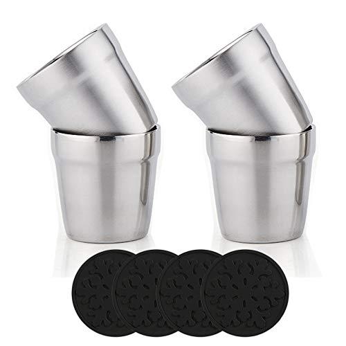 delstahl Doppelwandige Tassen + Silikon Coaster(4er Set) Stapelbar, Kaffeetasse/Teetasse/Chillen Biergläser, Edelstahl Becher Ideal für Reisen, Outdoor, Camping, und Jeden Tag, 6Unze(175 ml)