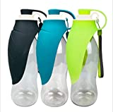 H Tomorrow Botella de agua para perro para caminar, botella de agua de viaje con cuenco plegable para perro y bolsa de basura para la cama