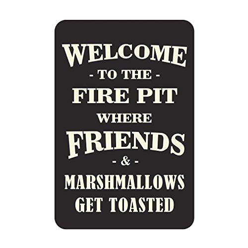 TIBB Welcome To Our Fire Pit For Bath Road New Retro Style Iron Sheet Metal Wall Tin Sign Living Plaque Poster Nostalgic Art Decoration 8x12 Inches