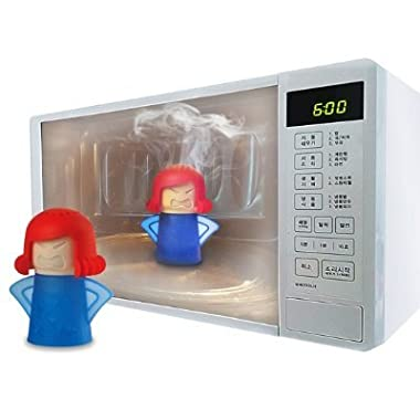 Angry Mama Microwave Cleaner + Cleaning Sponge, Microwave Oven Steam Cleaner Clean the Crud in Minutes, Steam Cleans and Disinfects With Vinegar and Water for Home or Office Kitchen
