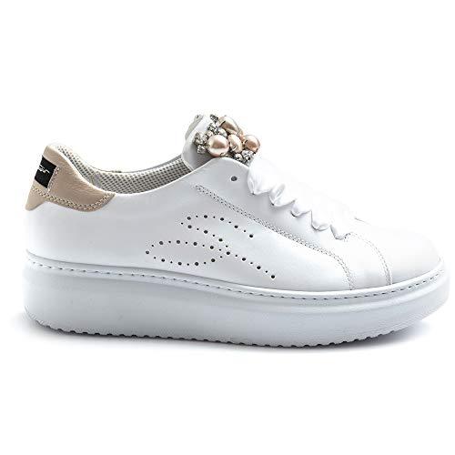 Tosca Blu Sneaker Donna Modello Agata Bianche con Pietre Rosa - SS2101S002 C16 - Taglia 39