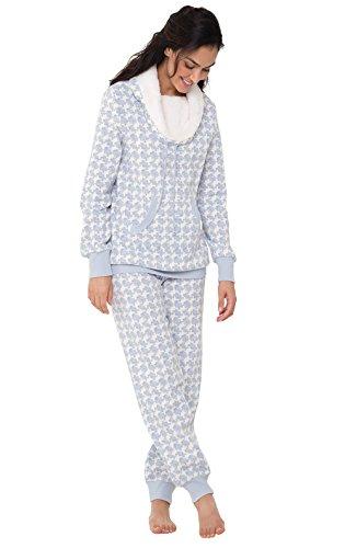 PajamaGram Womens Pajamas Plush Fleece - Warm Pajamas for Women, Blue, M, 8-10