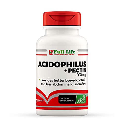 Full Life Daily Dietary Supplement - 200 Million CFU Lactobacillus Acidophilus with Pectin - Probiotic Food Supplement - Supports Healthy Immune System - Vegan & Gluten-Free - 60 Capsules