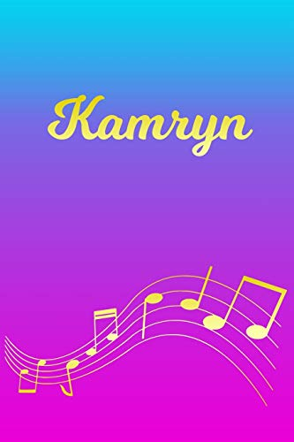 Kamryn: Sheet Music Note Manuscript Notebook Paper – Pink Blue Gold Personalized Letter K Initial Custom First Name Cover – Musician Composer … Notepad Notation Guide – Compose Write Songs