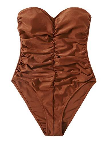 SweatyRocks Women's Bandeau One Piece Swimsuit Tie Front Tummy Control Bathing Suits Brown XL