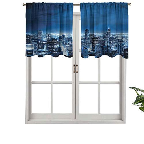 Hiiiman Cenefas de cortina opacas, cortinas cortas, con bolsillo para barra, vista aérea, Chicago, juego de 2, 137 x 60 cm para cocina y baño