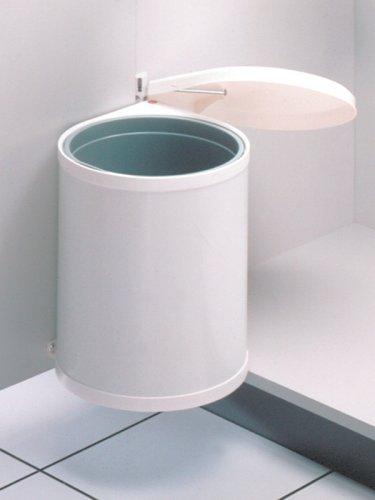 Hailo Compact-Box M, Einbau-Mülleimer aus Stahlblech/Kunststoff, 15 Liter, Deckel-Lift-System, einfache Montage, weiss, made in Germany, 3555-001