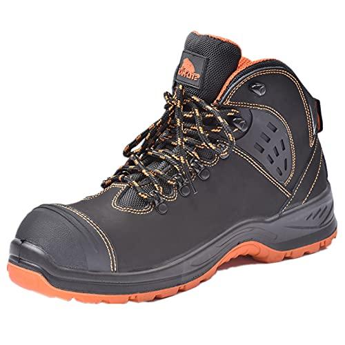 Chaussures de sécurité imperméables avec Embout en Acier, Chaussures de Travail antidérapantes, Bottes de sécurité d'hiver en Cuir S3 Noir