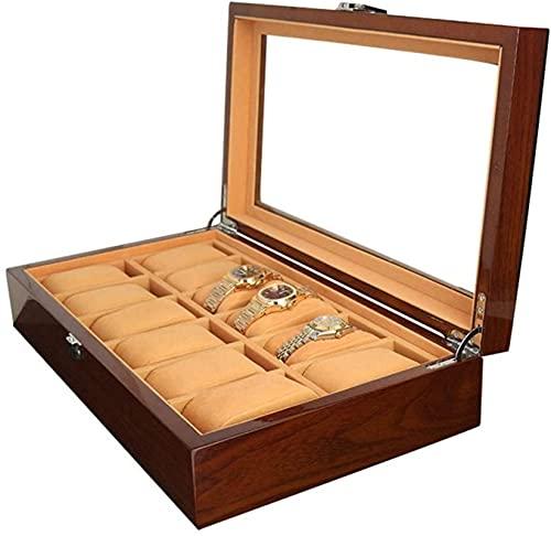 Caja de almacenamiento con tapa para reloj con 12 ranuras, caja de almacenamiento de madera, organizador de vitrina de cristal, rojo, 370 x 215 x 85 mm