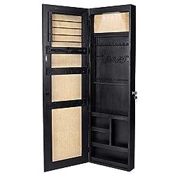 powerful SRIWATANA Jewelery Cabinet, Solid Wood Jewelery Organizer with Full Length Mirror Walls / Doors …