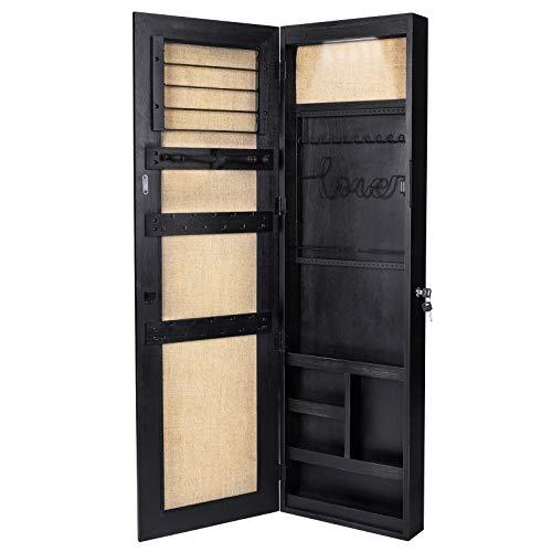 SRIWATANA Armario de joyería, organizador de joyas de madera maciza con espejo de longitud completa montado en la pared/puerta (negro...