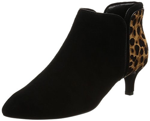 Rockport Damen Kalila Piping Bootie Kurzschaft Stiefel, Schwarz (Black Kid Suede/Ocelot), 36 EU