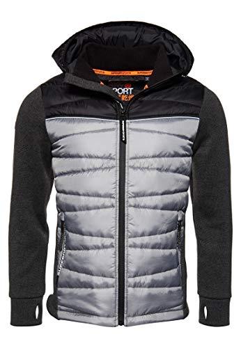 Superdry Herren Storm Diagonal Quilt Hybrid Jacke Größe XXL, Farbe Anthrazit/Schwarz