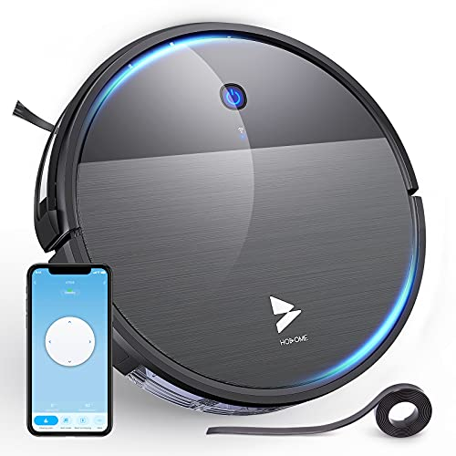 Hosome Robot Vacuum Cleaner Sweep and Mop Cleaning 1900Pa, Super-Thin Wi-Fi Robotic Vacuum Cleaner, Suction Quiet, Boundary Strip, Smart Self-Charging Robot Vacuum for Pet Hair Hardwood Floor Carpet.