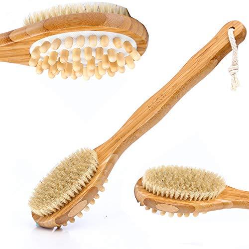 DOLA Brosse Corps de Masseur et épurateur Dorsal avec Une Longue poignée en Bambou pour éliminer la Cellulite et l'exfoliation pour Femmes et Hommes