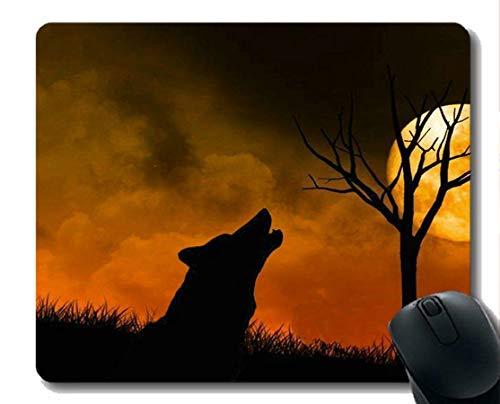 Yanteng Cojín de ratón Antideslizante Caucho Natural rectángulo Cojines de ratón, Animal Lobo Luna Noche de Goma Grande Alfombrilla de ratón Estera