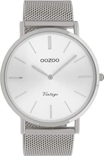 Oozoo Vintage Armbanduhr mit Edelstahl Milanaise Metallband 44 MM Silberfarben/Silberfarben C9904