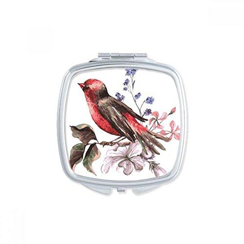 DIYthinker Oiseaux Branche Fleur carrée Maquillage Compact Miroir de Poche Portable Mignon Petit Cadeau Miroirs Main Multicolore