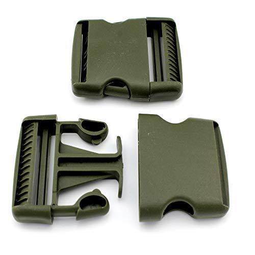 M-Teile-Store 5 Steckschnallen Olive 40mm Grade Kunststoffschnalle Steckverschluss Schnalle