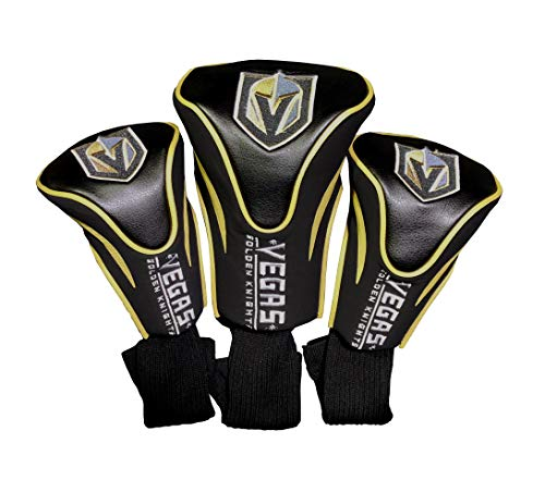 Team Golf NHL Las Vegas Golden Knights Contour Golf Club Headcovers (3 Count), Numbered 1, 3, & X, Fits Oversized Drivers, Utility, Rescue & Fairway Clubs, Velour Lined for Extra Club Protection