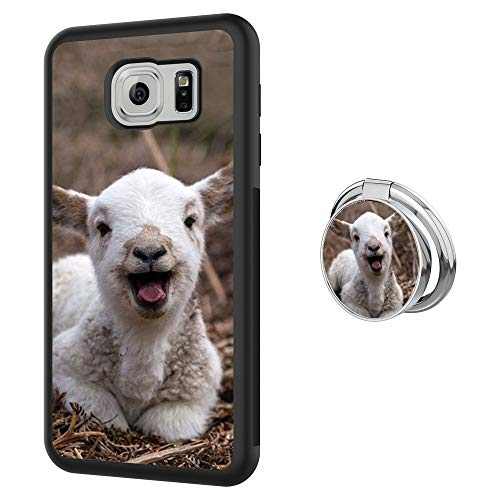 Case for Samsung Galaxy S6 Edge with Ring Frame,Goat Design Shockproof Non-Slip Durable TPU Soft Material,Phone Case for Samsung Galaxy S6 Edge