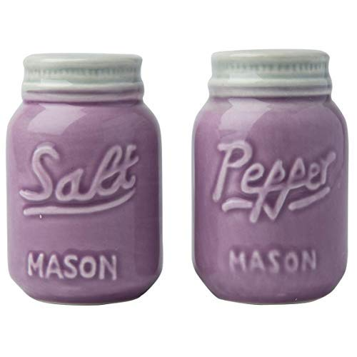 Comfify Vintage Mason Jar Salt & Pepper Shakers Adorable Decorative Mason Jar Decor for Vintage, Rustic, Shabby Chic - Sturdy Ceramic in Purple - 3.5 oz. Cap.