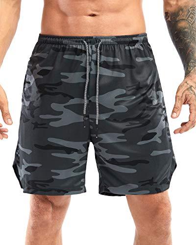Yidarton Shorts Herren Sport Sommer 2 in 1 Kurze Hosen Schnelltrocknende Laufshorts Fitness Joggen und Training Sporthose mit Taschen (334-Graue Tarnung, X-Large)