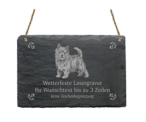 Schiefertafel « NORWICH TERRIER » IHR TEXT + MOTIV - 22 x 16 cm - Schild mit Hund - Norwich Terrier