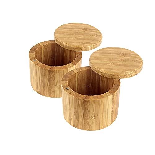 Caja de sal de bambú con tapa giratoria magnética, contenedor de especias redondas 8.5oz, contenedor de almacenamiento de cocina, duradero seguro, para condimentos, hierbas o artículos pequeños, 2pcs