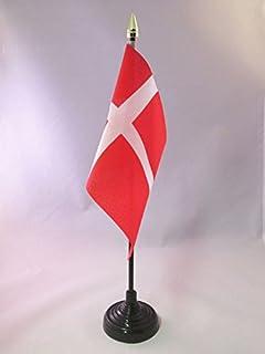 AZ FLAG Bandera de Mesa de Dinamarca 15x10cm - BANDERINA de DESPACHO DANESA 10 x 15 cm Punta Dorada