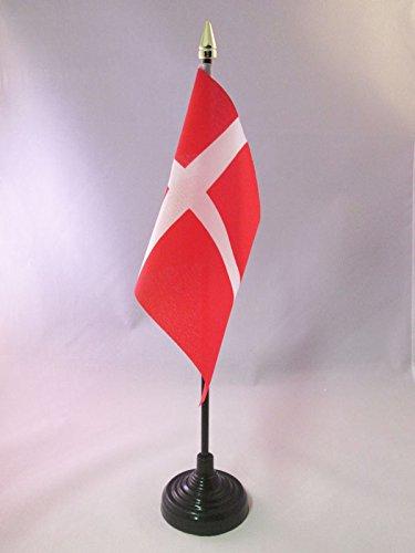AZ FLAG TISCHFLAGGE DÄNEMARK 15x10cm goldene splitze - DÄNISCHE TISCHFAHNE 10 x 15 cm - flaggen
