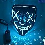 Light Up Purge Mask Halloween Purge Mask Led for Adults and Kids (Blue)