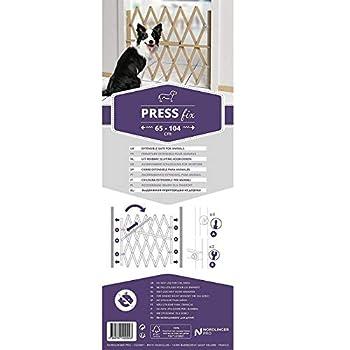Nordlinger Pro Barrière de sécurité d'escalier PressFix pour Animaux/Chiens, matériau de qualité supérieure en Bois Naturel, Extensible DE 65 à 104 cm en Largeur, Hauteur 84 cm