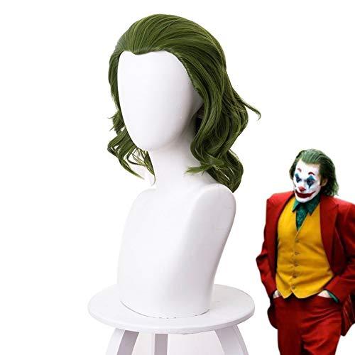 2019 Joker Origin pelcula payaso Joker peluca Cosplay disfraz Joaquin Phoenix Arthur Fleck rizado verde pelo sinttico resistente al calor