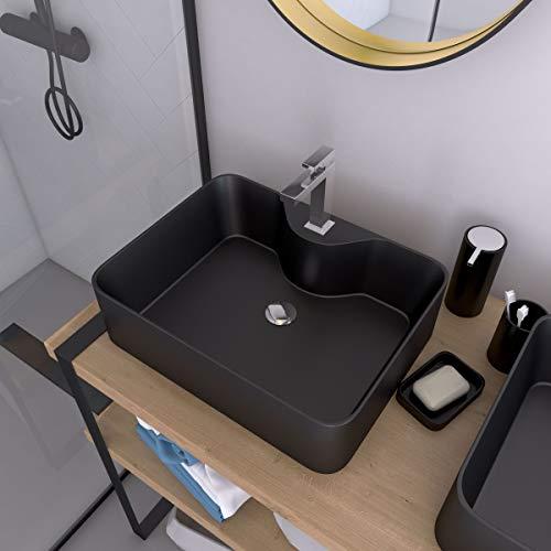 Lavabo rectangular de cerámica, 48 x 37 x 13,5 cm, color negro