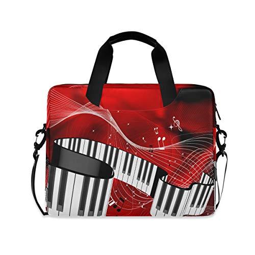 OOWOW - Bolsa para portátil para mujer y hombre, con teclas de piano musical, nota musical, ligera, maletín para ordenador portátil de 14 a 15,6 a 16 pulgadas