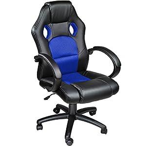 TecTake Silla de escritorio de oficina, Racing - disponible en diferentes colores (Azul)TecTake Silla de escritorio de oficina,…