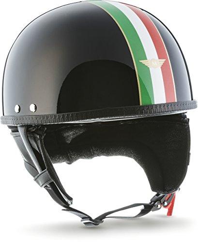 """MOTOHelmets® D22 """"Italy Black"""" · Brain-Cap · Halbschale Jet-Helm Motorrad-Helm Roller-Helm · Fiberglas Schnellverschluss SlimShell Tasche S (55-56cm)"""